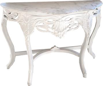Casa Padrino Barock Konsolentisch Weiss mit weißer Marmorplatte - Konsole Möbel Antik Stil – Bild