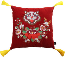 Casa Padrino Luxury Decorative Cushion with Tassels Cat Red / Yellow 45 x 45 cm - Finest velvet - Living Cushion