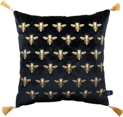 Casa Padrino luxury decorative cushion with tassels Bees Black / Gold 45 x 45 cm - finest velvet fabric - luxury decoration accessories