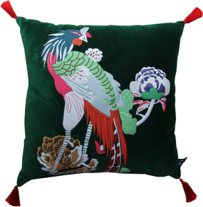Casa Padrino luxury decorative cushion with tassels Bird Green / Red 45 x 45 cm - finest velvet fabric - luxury decoration accessories