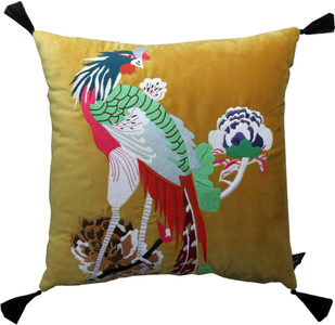 Casa Padrino Luxus Deko Kissen mit Troddeln Bird Gelb / Schwarz 45 x 45 cm - Feinster Samtstoff - Luxus Deko Accessoires