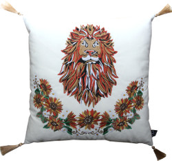 Casa Padrino luxury decorative pillow with tassels lion white cream / gold 45 x 45 cm - finest velvet fabric - luxury quality