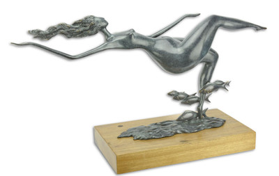 Casa Padrino designer bronze figure floating woman with fish blue / gold / natural 67 x 20.8 x H. 35.6 cm - Luxury Decoration Bronze Sculpture with Wooden Base