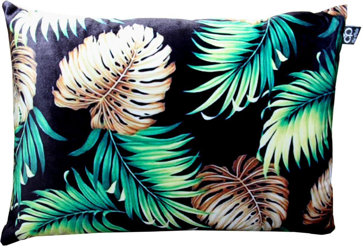 Casa Padrino Luxury Cushion San Francisco Palm Leaves Black / Multicolored  20 x 20 cm   Finest velvet fabric   Living room decoration accessories