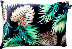 Casa Padrino Luxury Cushion San Francisco Palm Leaves Black / Multicolored 35 x 55 cm - Finest velvet fabric - Living room decoration accessories