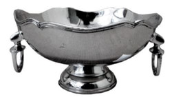 Casa Padrino luxury brass bowl with stirrup handles silver Ø 23 x H. 13 cm - Deco Accessories