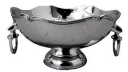 Casa Padrino Luxus Messing Schüssel mit Steigbügel Tragegriffen Silber Ø 23 x H. 13 cm - Deko Accessoires