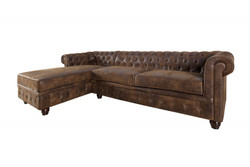 Casa Padrino Chesterfield corner sofa left in antique brown - living room furniture - couch