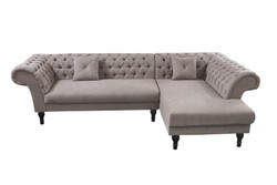 Casa Padrino Chesterfield corner sofa in Greige - living room furniture - couch