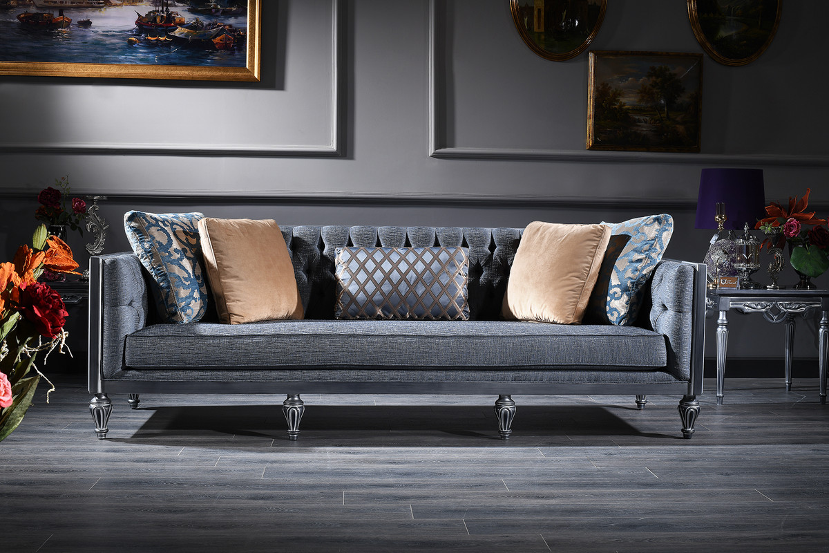 Casa Padrino Luxury Baroque Chesterfield Sofa Blue Silver 250 X 92 X H 85 Cm Living Room Furniture In Baroque Style