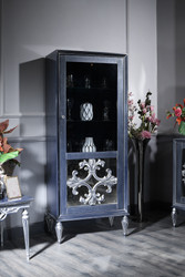 Casa Padrino Luxury Baroque Display Cabinet Blue / Silver 75 x 45 x H. 190 cm - Showcase with Glass Door - Baroque Living Room Furniture