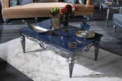 Casa Padrino Luxury Baroque Coffee Table Blue / Silver 143 x 94 x H. 44 cm - Living Room Table in Baroque Style