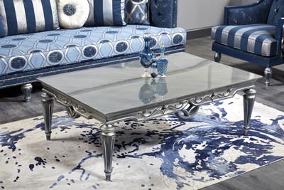 Casa Padrino Luxus Barock Couchtisch Silber 143 x 94 x H. 44 cm - Wohnzimmertisch im Barockstil – Bild 1