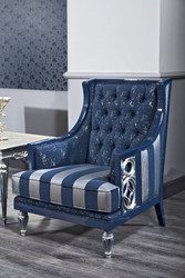 Casa Padrino Luxury Baroque Chesterfield Living Room Armchair Blue / Silver Striped 77 x 76 x H. 100 cm - Baroque Furniture
