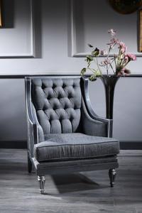 Casa Padrino Luxus Barock Chesterfield Wohnzimmer Sessel Blau / Grau / Silber 77 x 76 x H. 100 cm - Barockmöbel – Bild 1