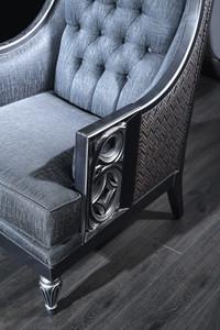 Casa Padrino Luxus Barock Chesterfield Wohnzimmer Sessel Blau / Grau / Silber 77 x 76 x H. 100 cm - Barockmöbel – Bild 2