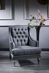 Casa Padrino Luxury Baroque Chesterfield Living Room Armchair Blue / Gray / Silver 77 x 76 x H. 100 cm - Baroque Furniture