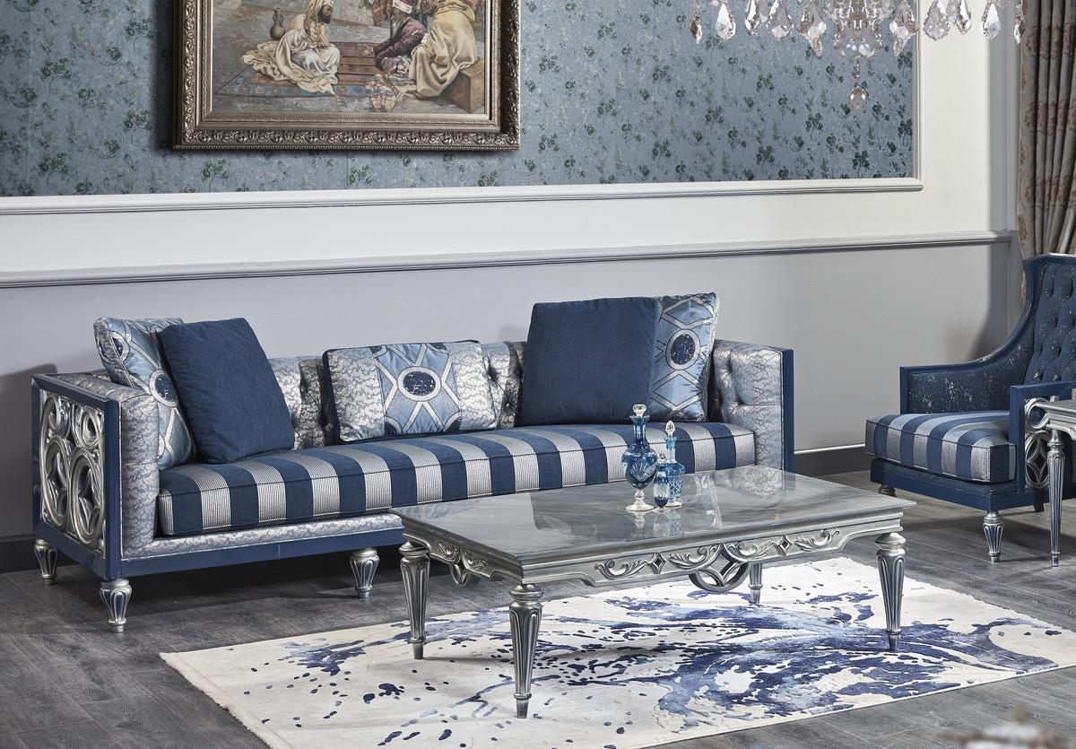 Casa Padrino Luxus Barock Chesterfield Sofa Blau / Silber gestreift 250 x 92 x H. 85 cm - Wohnzimmermöbel im Barockstil 1