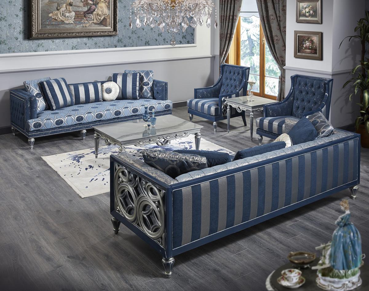 Casa Padrino Luxus Barock Chesterfield Sofa Blau / Silber gestreift 250 x 92 x H. 85 cm - Wohnzimmermöbel im Barockstil 2