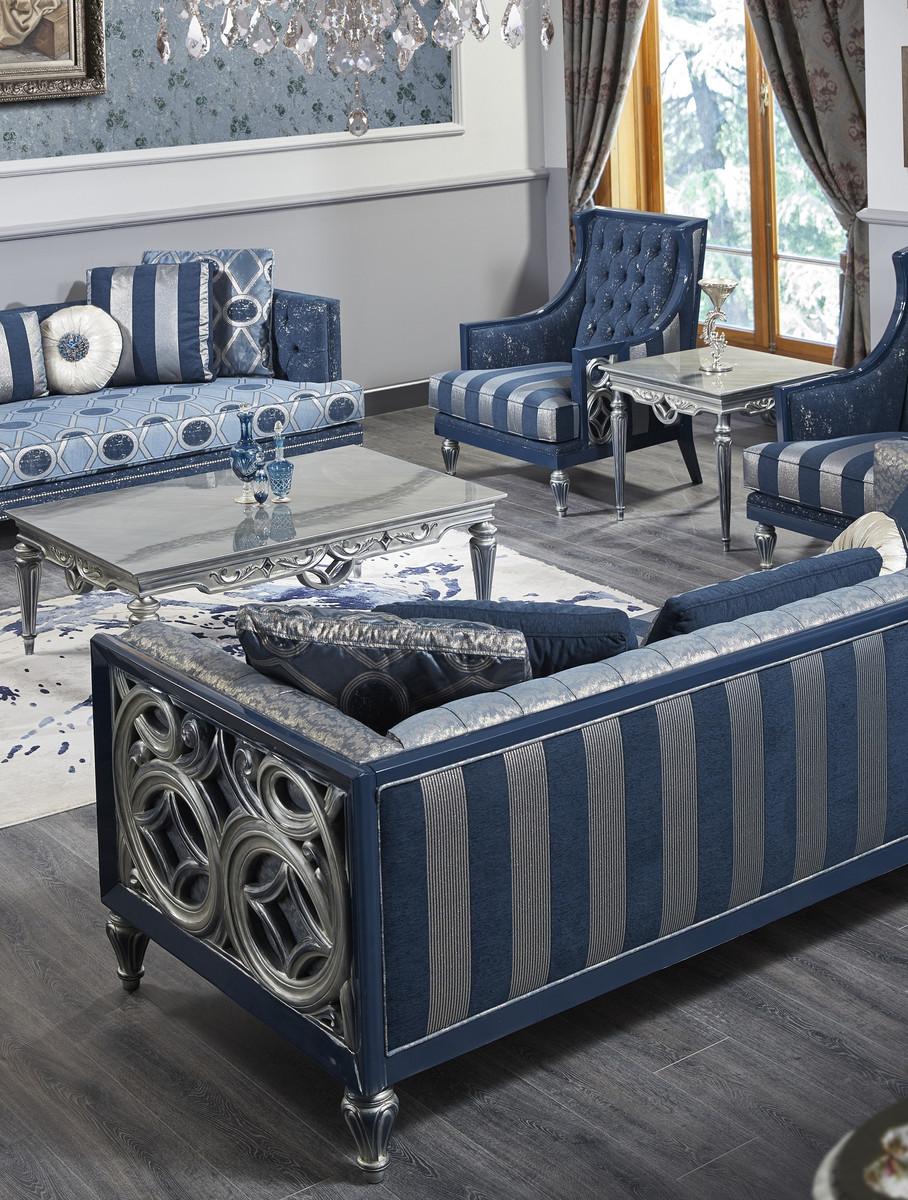 Casa Padrino Luxus Barock Chesterfield Sofa Blau / Silber gestreift 250 x 92 x H. 85 cm - Wohnzimmermöbel im Barockstil 3