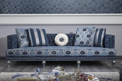 Casa Padrino Luxus Barock Chesterfield Sofa Dunkelblau / Hellblau / Silber 250 x 92 x H. 85 cm - Barock Wohnzimmermöbel – Bild 1