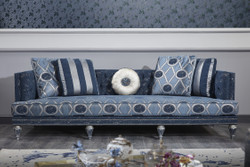 Casa Padrino Luxury Baroque Chesterfield Sofa Dark Blue / Light Blue / Silver 250 x 92 x H. 85 cm - Baroque Living Room Furniture