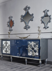 Casa Padrino Luxury Baroque Living Room Set Blue / Silver - Chest of Drawers with 3 Mirrors - Baroque Living Room Furniture