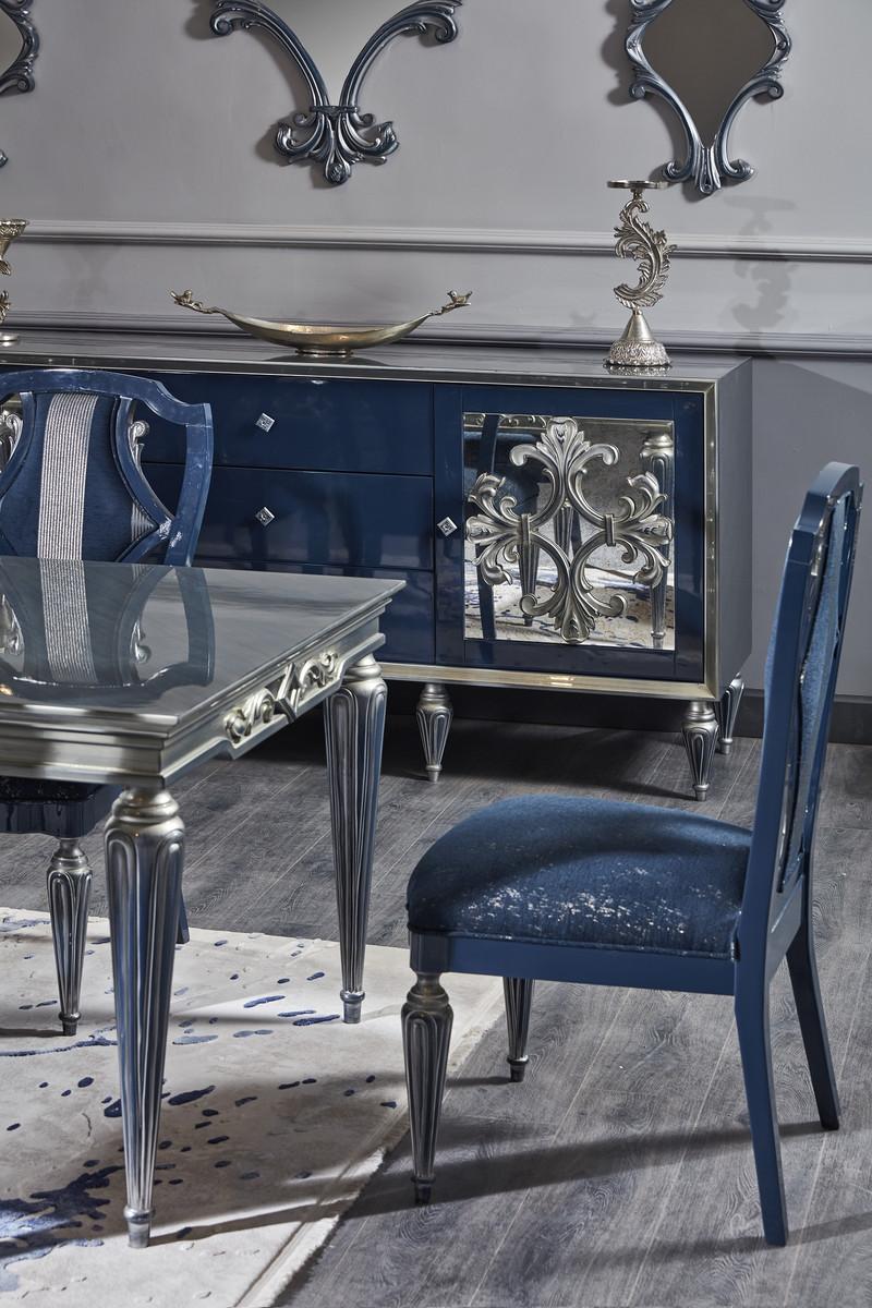 Casa Padrino Ensemble de Salle à Manger Baroque de Luxe Bleu / Argent -  Table à Manger et 6 Chaises de Salle à Manger - Mobilier de Salle à Manger  ...