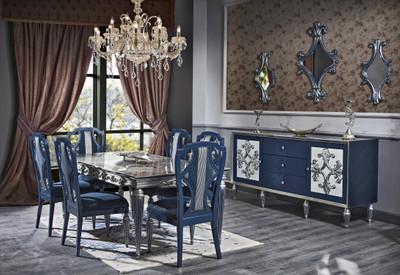 Casa Padrino Luxus Barock Esszimmer Set Blau / Silber - Esstisch und 6 Esszimmerstühle - Barock Esszimmermöbel – Bild 1