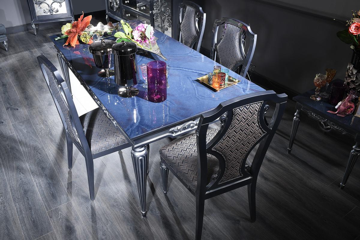Casa Padrino conjunto de comedor barroco de lujo azul / gris / plata - Mesa  de Comedor y 4 Sillas de Comedor - Muebles de Comedor Barrocos