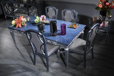 Casa Padrino Luxus Barock Esszimmer Set Blau / Grau / Silber - Esstisch und 4 Esszimmerstühle - Barock Esszimmermöbel – Bild 1