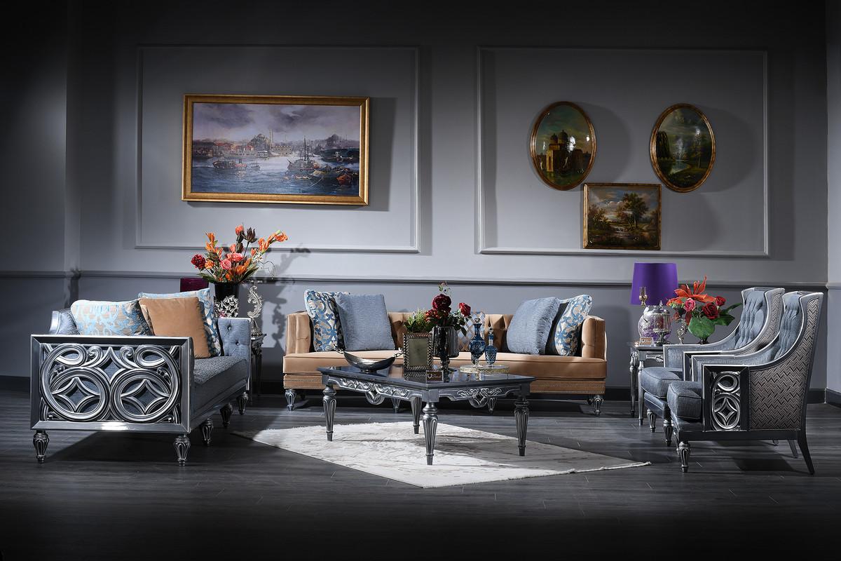 Casa Padrino Luxus Barock Wohnzimmer Set Blau Beige Silber 2 Sofas 2 Sessel Couchtisch Barock Wohnzimmermobel