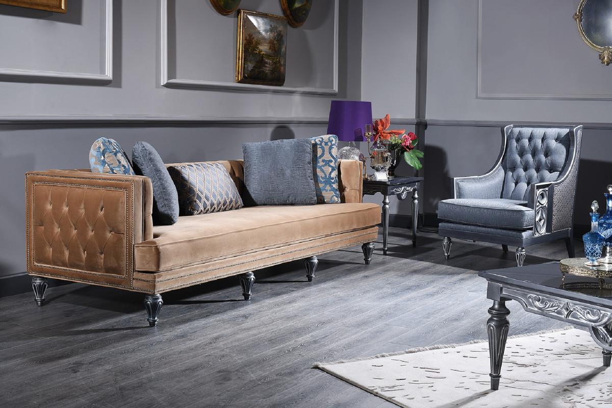 Casa Padrino set da salotto barocco di lusso blu beige argento 2 Divani e 2 Poltrone e Tavolino da Salotto Mobili Soggiorno in Stile Barocco