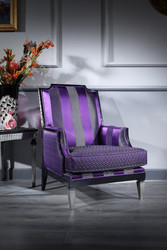 Casa Padrino Luxury Baroque Living Room Armchair Purple / Black / Silver 72 x 76 x H. 103 cm - Baroque Furniture