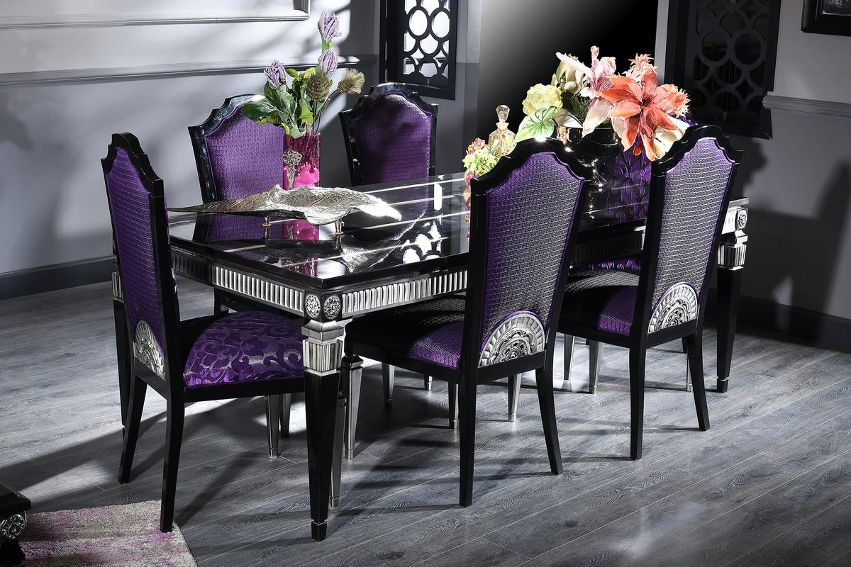 Casa Padrino Luxury Baroque Dining Set Purple Black