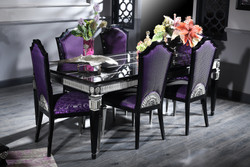 Casa Padrino Luxury Baroque Dining Set Purple / Black / Silver - Dining Table and 6 Dining Chairs - Dining Room Furniture in Baroque Style