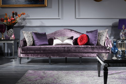 Casa Padrino luxury baroque velvet sofa purple / black / silver 245 x 93 x H. 90 cm - Living Room Sofa - Baroque Living Room Furniture