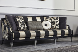 Casa Padrino Luxury Baroque Sofa Black / Gold / Silver 244 x 95 x H. 88 cm - Living Room Furniture in Baroque Style