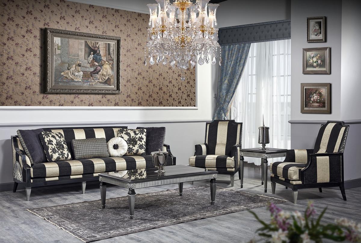 Casa Padrino Luxus Barock Wohnzimmer Set Schwarz / Gold ...