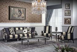 Casa Padrino Luxury Baroque Living Room Set Black / Gold / Silver - 1 Sofa & 2 Armchairs & 1 Coffee Table & 1 Side Table - Baroque Furniture