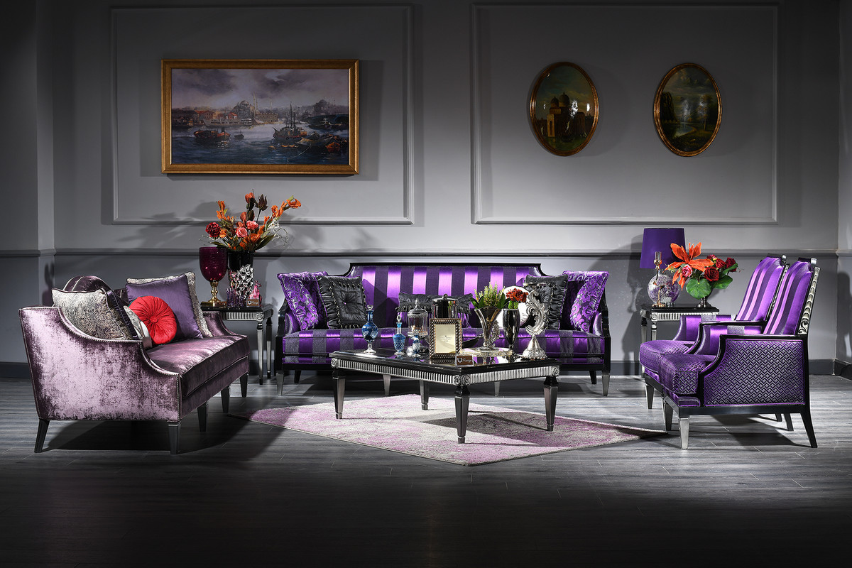 Casa Padrino Luxus Barock Wohnzimmer Set Lila / Schwarz / Silber   2 Sofas  U0026 2 Sessel U0026 1 Couchtisch U0026 2 Beistelltische   Barockmöbel