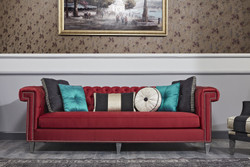 Casa Padrino Luxury Baroque Chesterfield Sofa Red / Silver 249 x 102 x H. 81 cm - Chesterfield Living Room Furniture