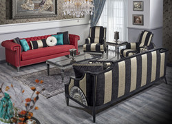 Casa Padrino Luxury Baroque Living Room Set Red / Black / Gold / Silver - 2 Sofas & 2 Armchairs & 1 Coffee Table & 1 Side Table - Baroque Living Room Furniture