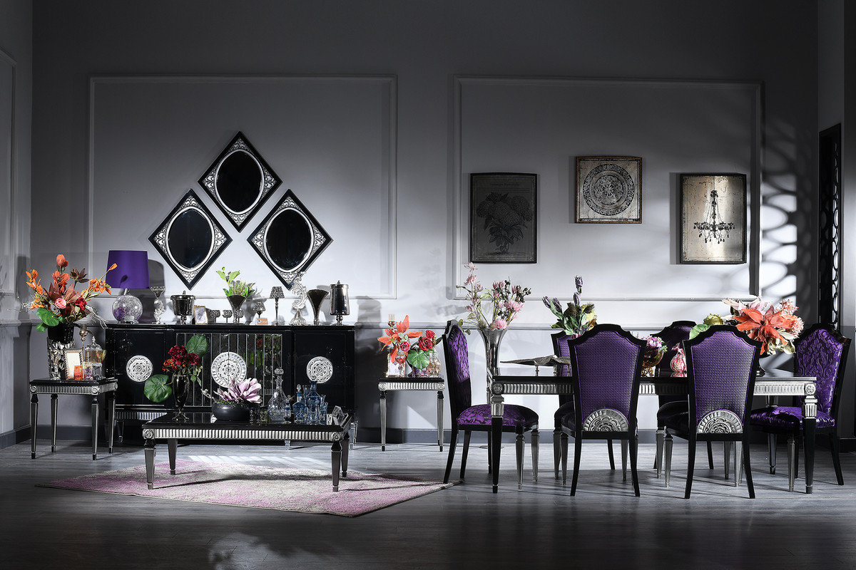 Casa Padrino Luxus Barock Wohnzimmer U0026amp; Esszimmer Set Lila / Schwarz /  Silber   Barockmöbel
