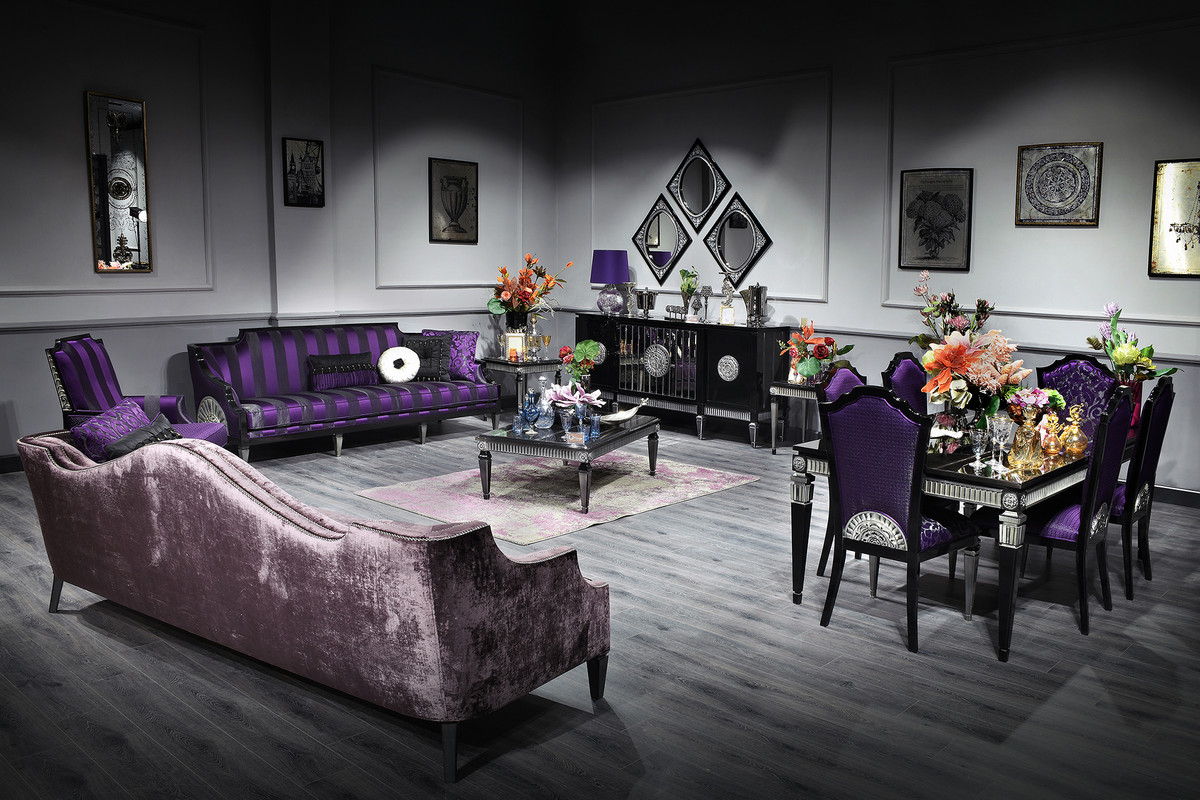 Casa Padrino Luxus Barock Wohnzimmer & Esszimmer Set Lila / Schwarz /  Silber - Barockmöbel