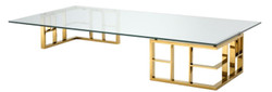 Casa Padrino luxury coffee table gold 180 x 90 x H. 32.2 cm - Stainless Steel Coffee Table with Glass Top - Designer Furniture