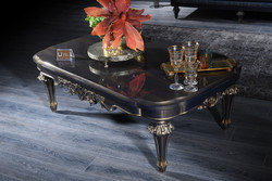 Casa Padrino Luxury Baroque Coffee Table Blue / Gold / Black 131 x 85 x H. 45 cm - Living Room Table in Baroque Style