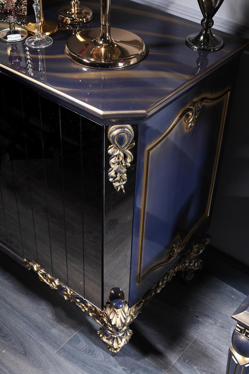 casa padrino luxus barock wohnzimmer set blau  gold