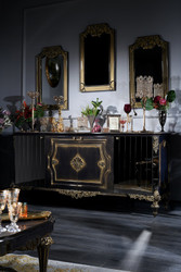 Casa Padrino Luxury Baroque Living Room Set Blue / Gold / Black - Sideboard and 3 Mirrors - Baroque Furniture