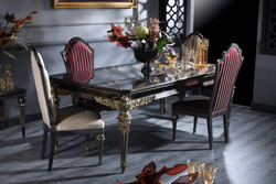 Casa Padrino Luxury Baroque Dining Set - Dining Table and 4 Dining Chairs - Dining Room Furniture in Baroque Style